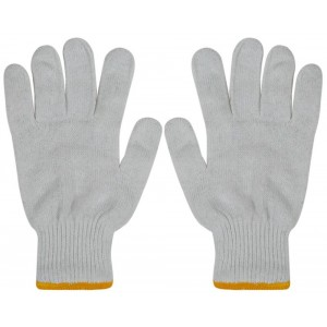 Cotton Bleached White & Gray Gloves NH22
