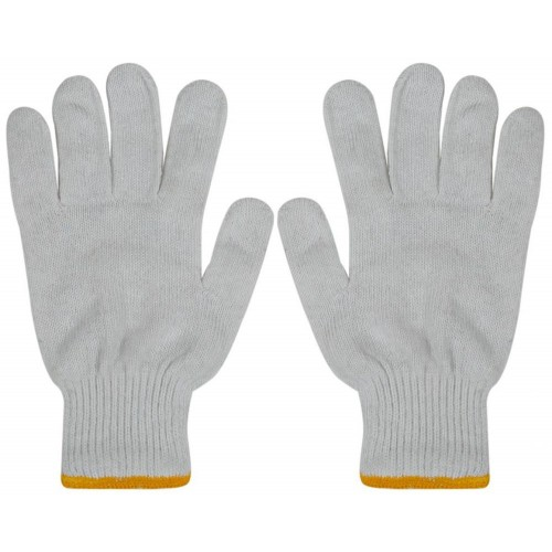 Cotton Bleached White & Gray Glove NH22