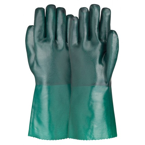 Green PVC Double Dipped Rough Finish Gloves DDR 101