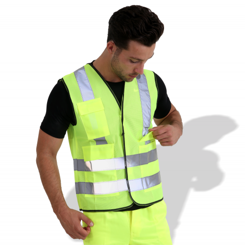 KF007 Reflective Vest Fluorescent Fabric With Pocket